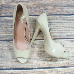 New Vince Camuto 7.5 Patent Peep Toe Shoe Pumps